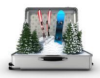 Suitcase ski and snowboard with snow inside Royalty Free Stock Photography