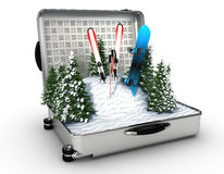 Suitcase ski and snowboard with snow inside Royalty Free Stock Photo