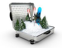 Suitcase ski and snowboard with snow inside Stock Photos