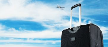 Suitcase with the sky. royalty free stock photography