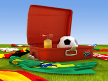 Suitcase of the soccer supporter Stock Photography