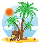 Suitcase standing under a palm tree vector illustration Stock Image