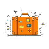 Suitcase with stickers liner design vector illustration flat design with lines icons. Illustration for banners. Infographic and other design. Suitcase icon Stock Photo