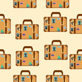 Suitcase with stickers pattern Royalty Free Stock Images
