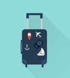 Suitcase with stickers. Travel concept. Vector illustration flat design style. Royalty Free Stock Photos