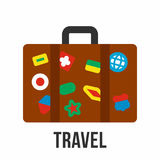 Suitcase with stickers, travel symbol. In flat style vector illustration isolated on white background Royalty Free Stock Image