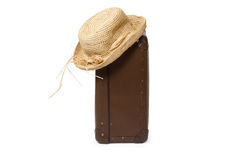 Suitcase with Straw Hat Royalty Free Stock Photography