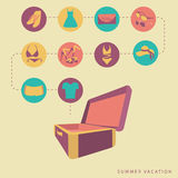 Suitcase stuff summer vacation. To lay down things in a suitcase summer vacation Stock Photos