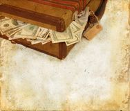 Suitcase Stuffed With Money Grunge Background Stock Photo