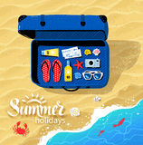 Suitcase with summer accessories Stock Photo