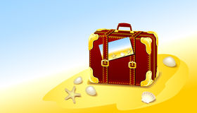 Suitcase for summer at the beach Royalty Free Stock Photo