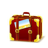 Suitcase for summer isolated with flyer Royalty Free Stock Image