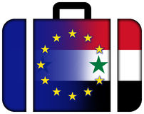 Suitcase with Syria and EU Flag Stock Photos