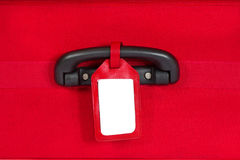 Suitcase Tag, Empty Travel Luggage Label on Handle, Red Baggage Stock Photography