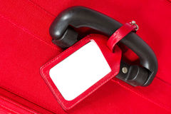 Suitcase Tag, Empty Travel Luggage Label on Handle, Red Baggage Stock Photos