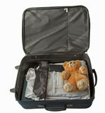 Suitcase with teddy Stock Photography