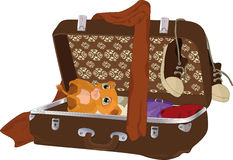 Suitcase with things. Toy traditional travel retro Royalty Free Stock Photography