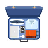 Suitcase with things of the modern man, vector Royalty Free Stock Image