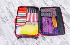 Suitcase with things. royalty free stock photography