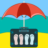 Suitcase to travel with Slippers. Under a beach umbrella stock illustration