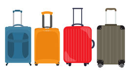 Suitcase, Travel Bag Flat Icon Set Collection. Vector Illustrati. On EPS10 Stock Photo