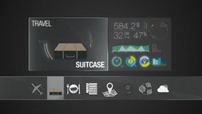 Suitcase, travel bag icon for travel contents.Digital display application. (included Alpha&#x29 stock video footage