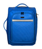 Suitcase for travel. Blue color with silver accents. Stock Photography