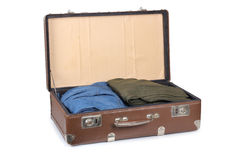 Suitcase of travel with clothing Stock Photos