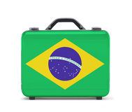 Suitcase for travel with flag of Brazil Royalty Free Stock Image