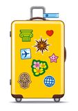 Suitcase for travel with stickers Royalty Free Stock Image
