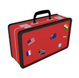 Suitcase With Travel Stickers isolated on white Royalty Free Stock Images