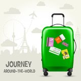 Suitcase with travel tags and european landmarks - tourism Royalty Free Illustration