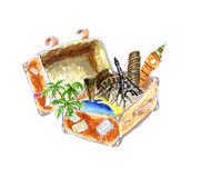The suitcase traveler, attractions, icon drawing Stock Photo