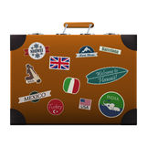 Suitcase. Traveler's suitcase with stickers of different countries. EPS10 Royalty Free Stock Photography