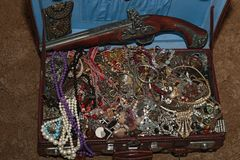 A suitcase with treasures Royalty Free Stock Photography