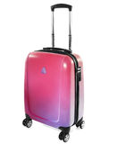 Suitcase trolley purple-pink isolated on a white background. Plastic suitcase trolley with telescopic handle photographed in studio and retouch Stock Photos