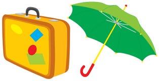 Suitcase and umbrella Stock Images