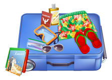 Suitcase and vacation items. An illustration of a suitcase with vacation items on it ready for packing or just been unpacked. Includes passport, sunglasses Royalty Free Stock Photography