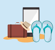 Suitcase with vacation travel icons image. Flat design suitcase with  vacation travel icons image vector illustration Royalty Free Stock Photography