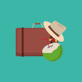 Suitcase with vacation travel icons image Stock Photo