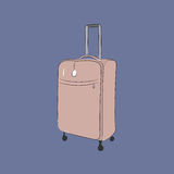 Suitcase, vector illustration. Hand-drawn sketch of suitcase isolated on grey background. Art vector illustration for your design Royalty Free Stock Image