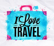 Suitcase watercolors travel Royalty Free Stock Photography