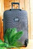 Suitcase on wheels. Suitcase on wheels for a fascinating journey to warm countries Royalty Free Stock Image