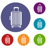 Suitcase on wheels icons set Royalty Free Stock Photo