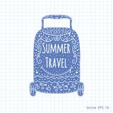 A suitcase on wheels, a summer trip. Vector ,illustration Royalty Free Stock Photo