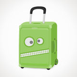 Suitcase with a wicked snout. Suitcase with a wicked muzzle for boys, green, vector format Royalty Free Stock Images