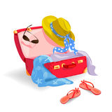 Suitcase with women accessories Stock Photography