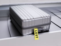 Suitcase with Yellow Lost Sticker on Baggage Transporter 3d Illustration. Suitcase with Yellow Lost Sticker on Baggage Claim Transporter 3d Illustration Royalty Free Stock Photography