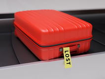 Suitcase with Yellow Lost Sticker on Transporter Belt 3d Illustration Royalty Free Stock Photos
