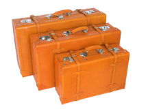 Suitcases. Group of three leather suitcases with different sizes Royalty Free Stock Photo